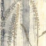 Judith Bowerman, Cimicifuga III, polyester plate lithography and monotype on wood substrate.