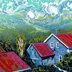 Susan Jaworski-Stranc, Red Roofs of Vermont, Linoleum